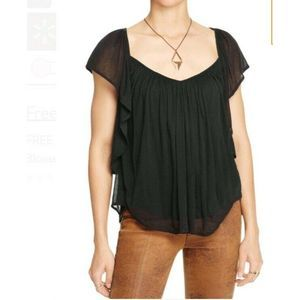 Free People Forever and Always Black Boho Blouse